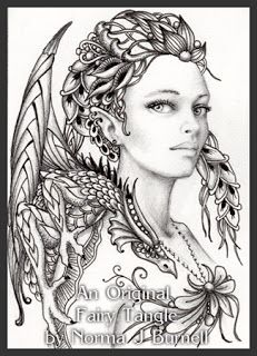 ACEO, Fairy & Dragon, 2.5x3.5 inches, micron pen, graphite and clear star glitter on Strathmore 500 series plate bristol board.