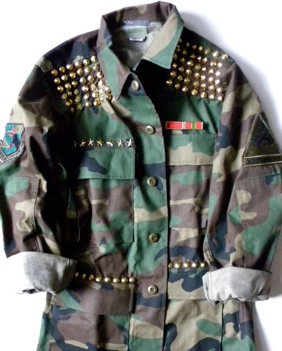 a77c87b8134 Womens Green Camo Jacket Army Fatigue with Gold by TUCKbrand