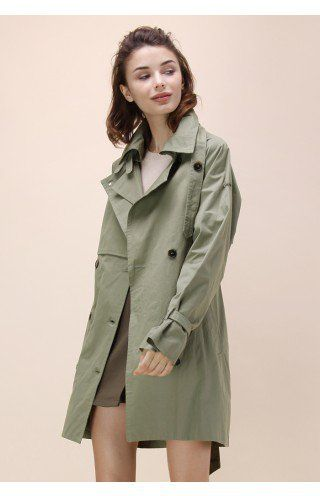Urbane Charm Double-breasted Trench Coat in Army Green - New Arrivals - Retro, Indie and Unique Fashion