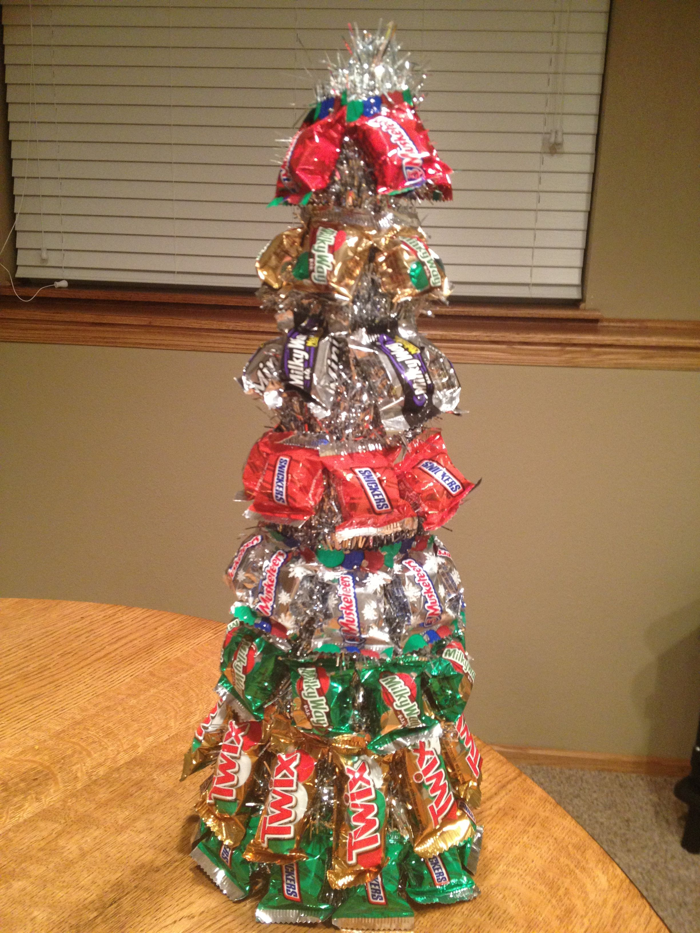 Image result for christmas tree trimmed with snickers