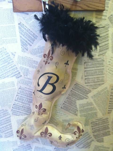 Handpainted Christmas Stocking w/ Italic Initial by BBsPlanB, $34.95