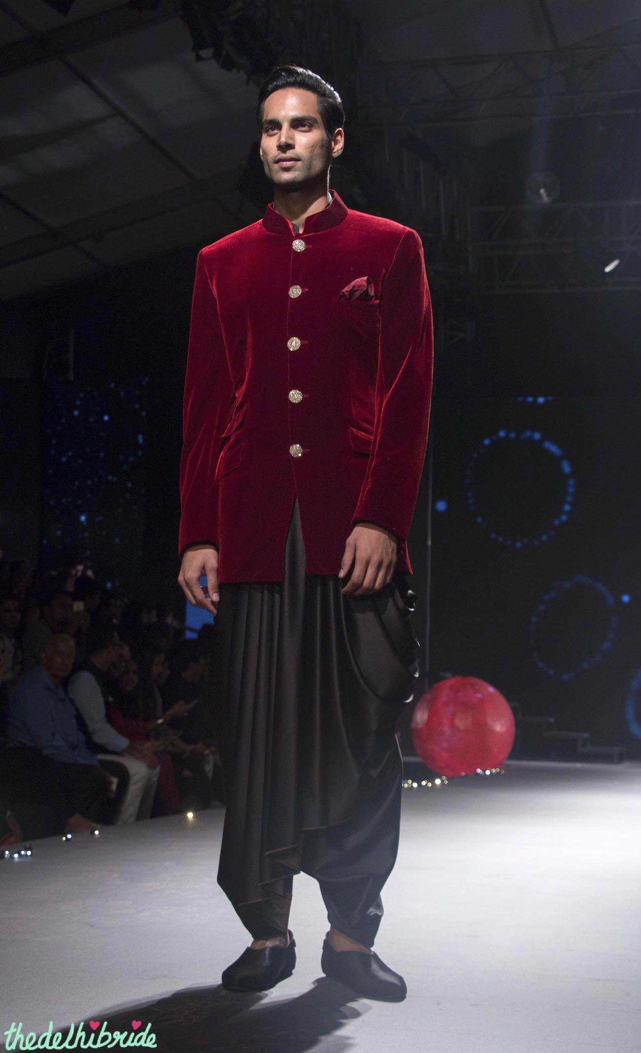 Deep Red Velvet Bandhgala Coat  Black Dhoti Pants By -9139