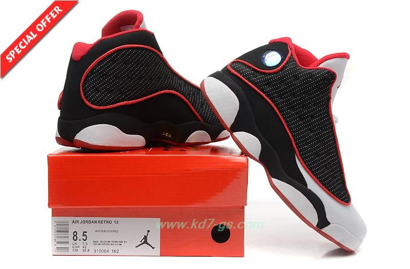 618f2445b Discount Shoes Online Mens 310004-162 White Black Red AIR JORDAN 13 RETRO