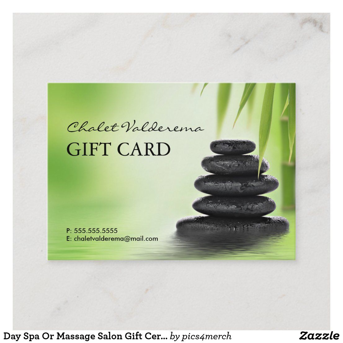 Day spa or massage salon gift certificate template