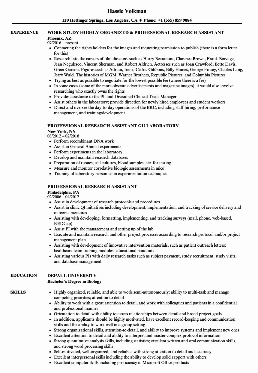 Graduate Research assistant Resume Luxury Professional