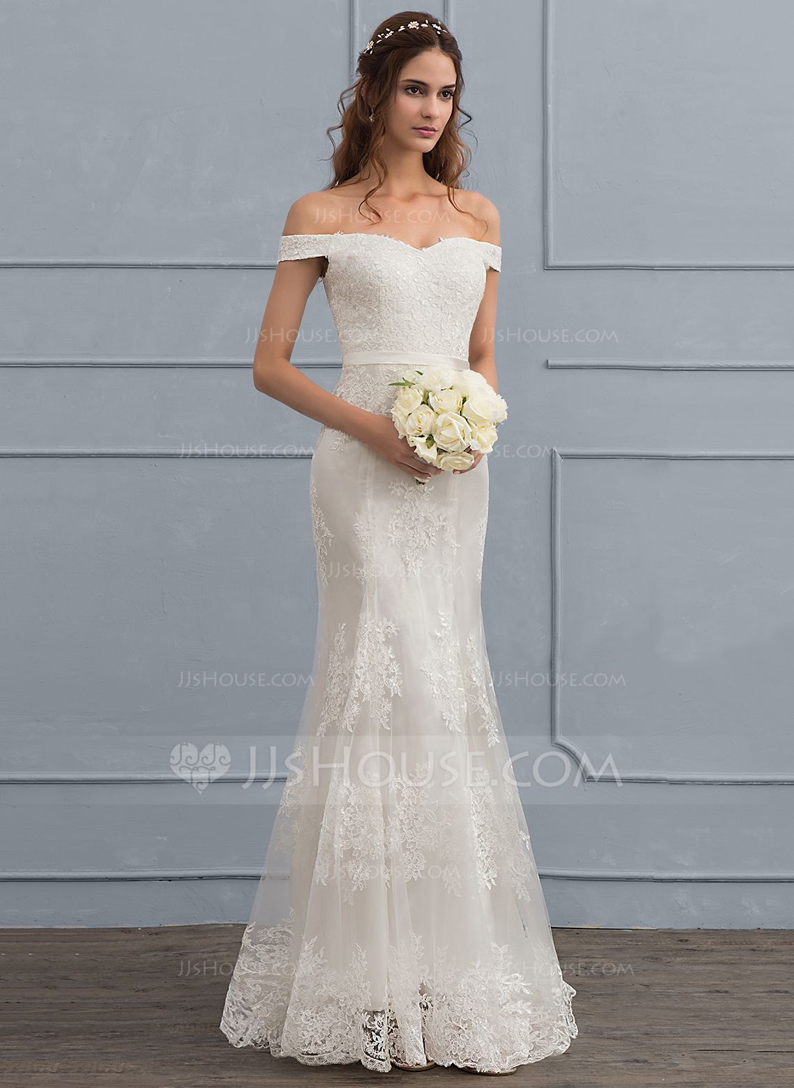Us 256 00 Trumpet Mermaid Off The Shoulder Sweep Train Tulle Lace Wedding Dress With Sequins Jj S House Wedding Dresses Wedding Dresses Lace Designer Wedding Dresses