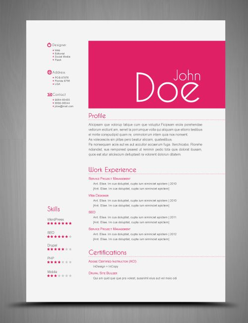 3 CV\/Resume InDesign Templates Clean \ Elegant StockInDesign - entry level graphic design resume