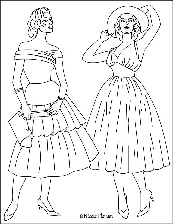 Vintage Fashion Coloring Page Fashion Coloring Book Colorful