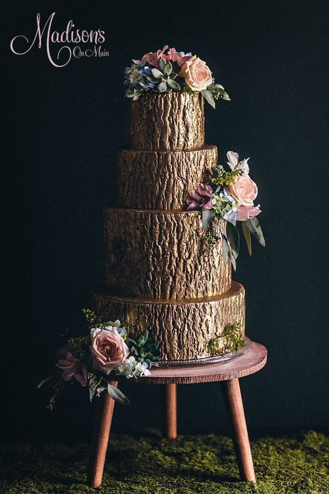 Enchanted Forest Gold Tree Bark Cake With Moss And Fresh