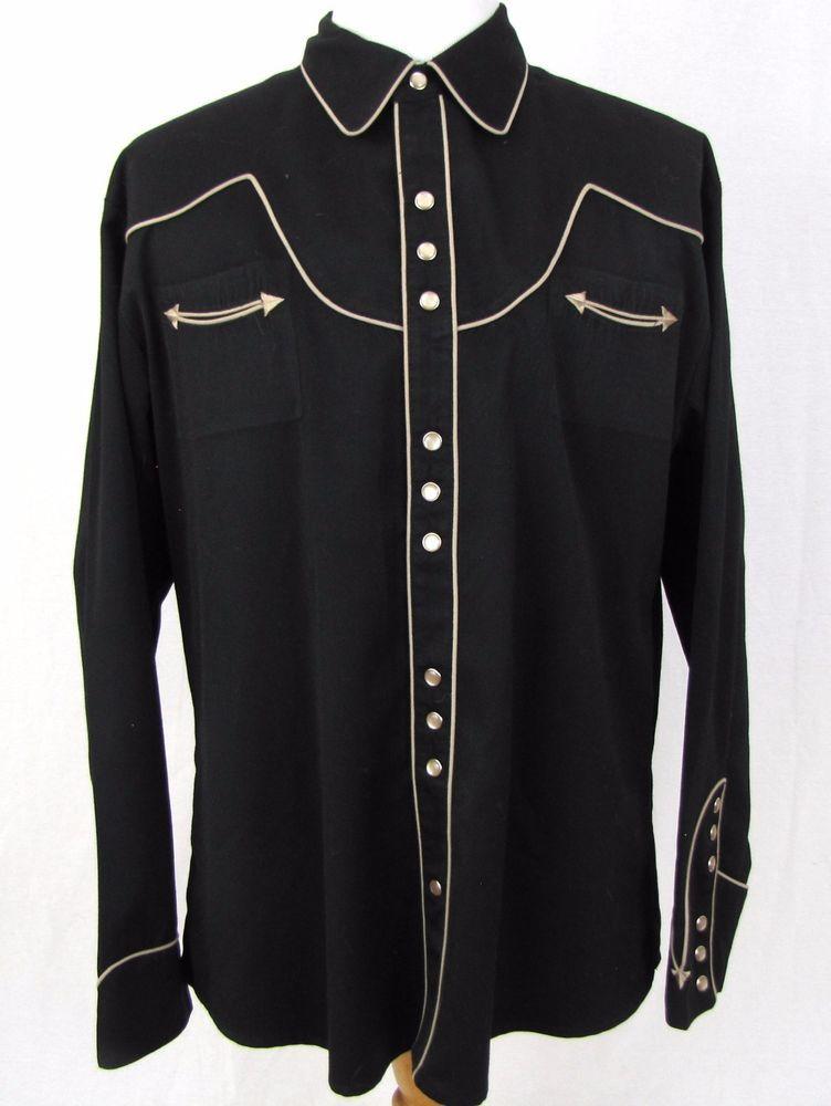 39b4cd0a365 Scully Western Shirt XL Black Pearl Snap Arrow Pocket Yoke Cowboy Gunslinger   Scully  Western