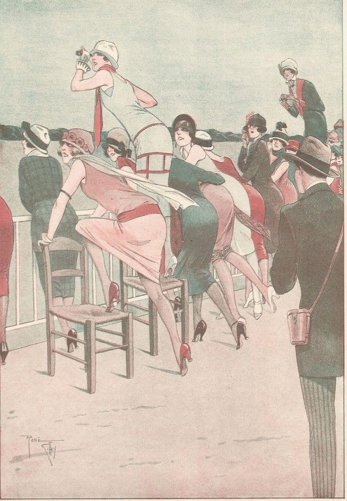 Gosse d' Amour - - Course Jeune Femme  - Dessin Giffey - Gravure Ancienne 1925