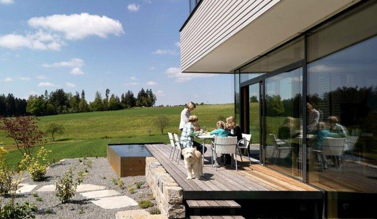 jardines y terrazas suelo madera lugar precioso comidas ideas - terrazas en madera