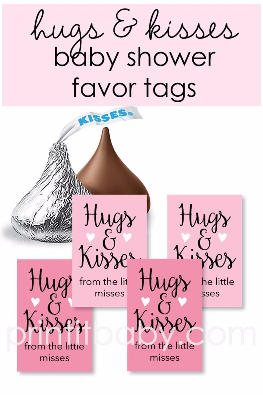 30x Hugs and Kisses Gift Tags Personalised Baby Shower Favour Tags