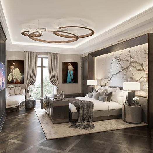 The Circles Light Fixture Very Unusual Modern Master Bedroom Luxurious Bedrooms Master Bedroom Interior