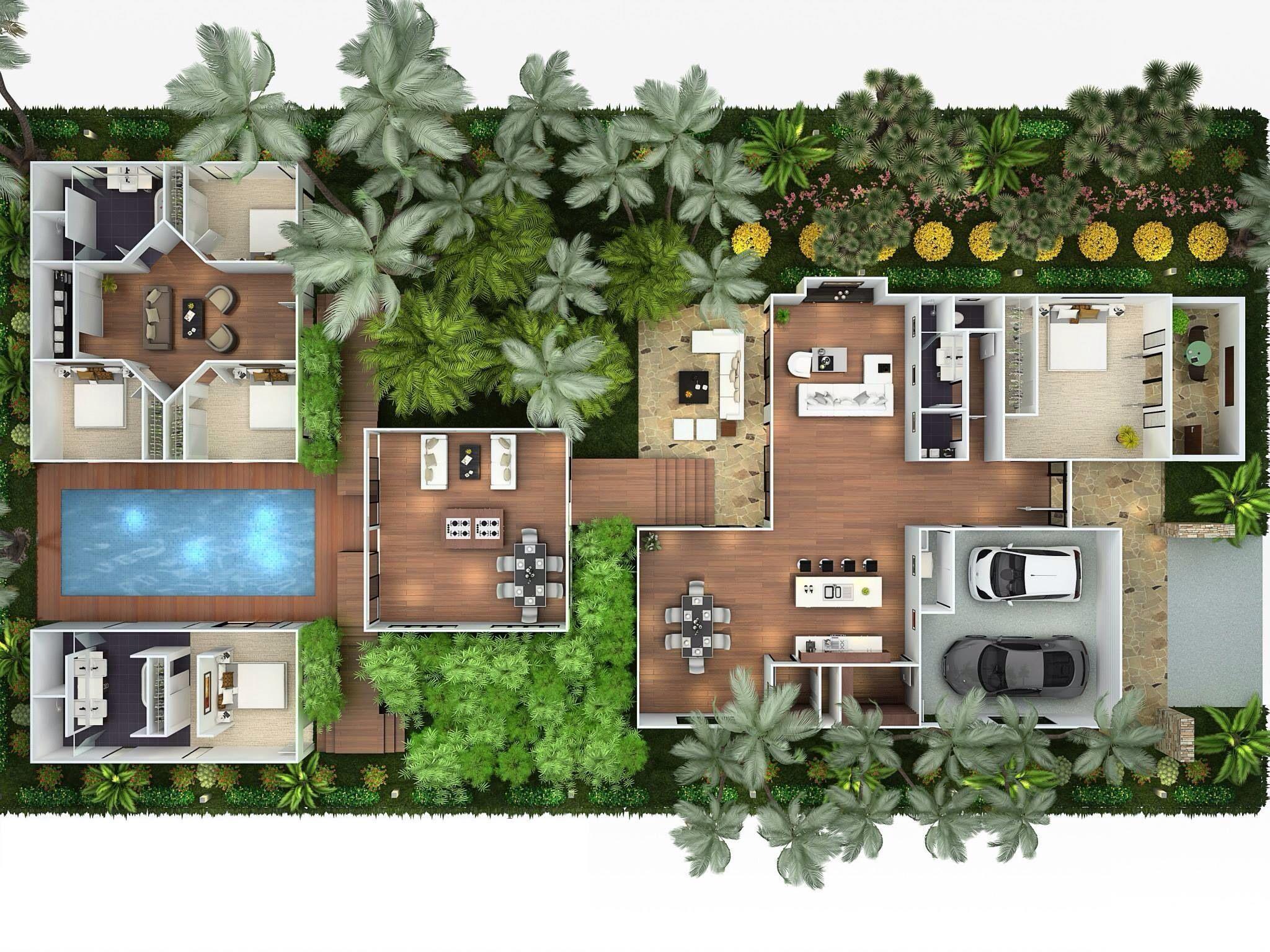 Casa habitaci n con reas independientes unidas por for Planos de casa habitacion