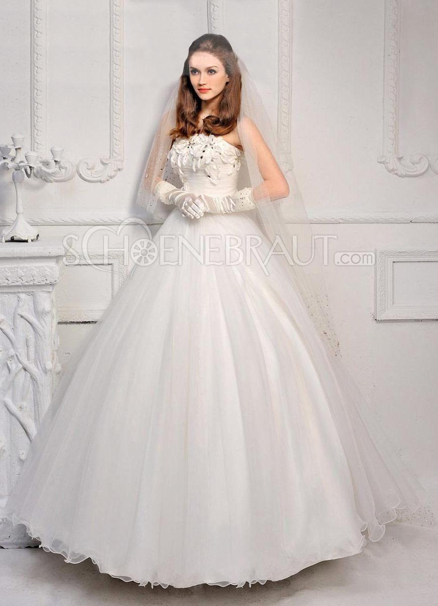 A-Linie Blüte Prinzessin Organza Hochzeitskleider Bodenlang