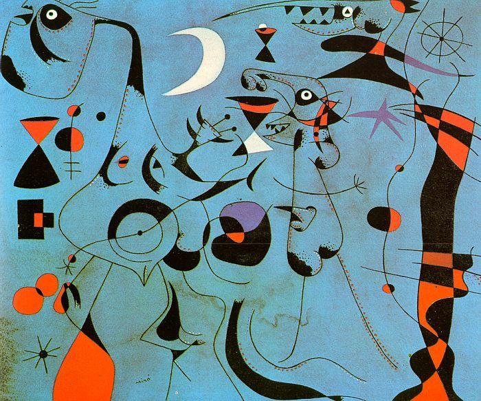 Joan Miró, Personajes y Perro delante del Sol. 1949 | Painting ...