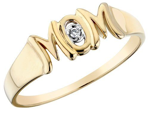 Mom Ring With Diamond In 10k Yellow Gold Size 8 Show Mom You Care With This 10 Karat Yellow Gold Ring With One Glittering Mom Ring Jewelry White Gold Jewelry