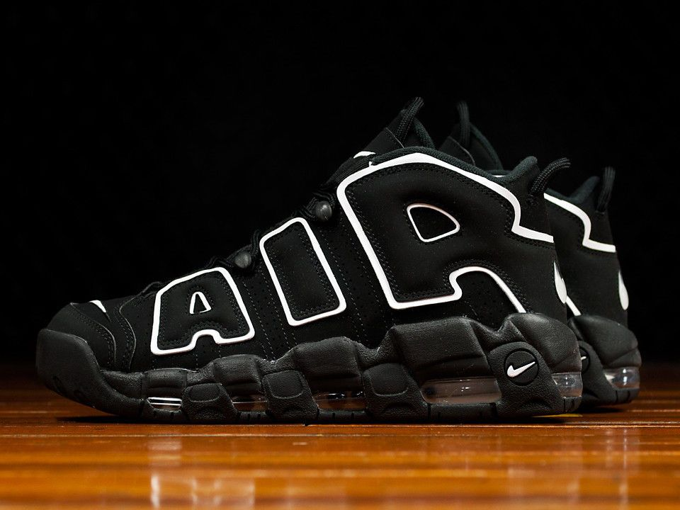 d00af7f74940 2016 Nike Air More Uptempo Black White 414962-002 Men GS Youth Girl Pippen
