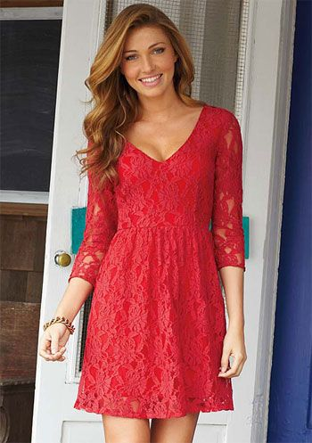 Lace longsleeved red dress