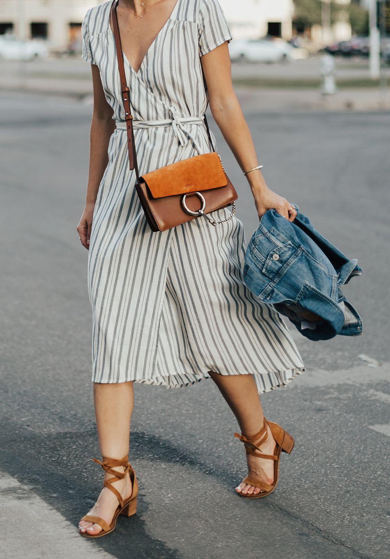 Striped Midi Wrap Dress Livvyland Austin Fashion And Style Blogger Fashion Austin Style Midi Wrap Dress [ 1433 x 1000 Pixel ]