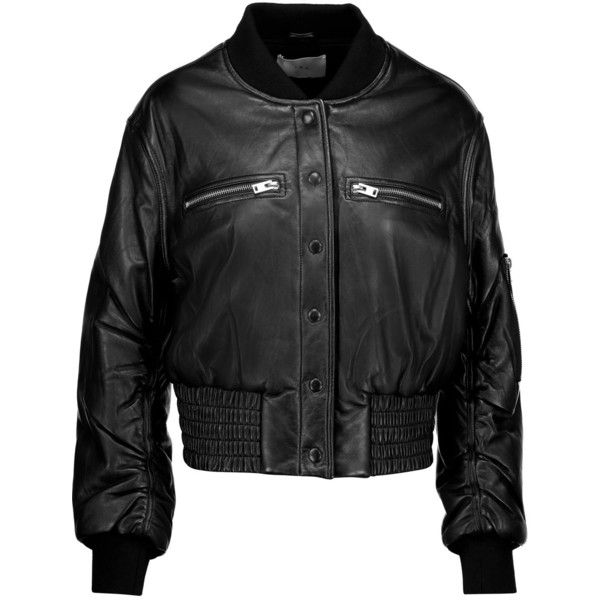IRO Colombe Teddy leather bomber jacket (1.370 BRL) ❤ liked on Polyvore featuring outerwear, jackets, black, zipper leather jacket, leather letterman jackets, genuine leather jackets, leather jackets and real leather bomber jacket