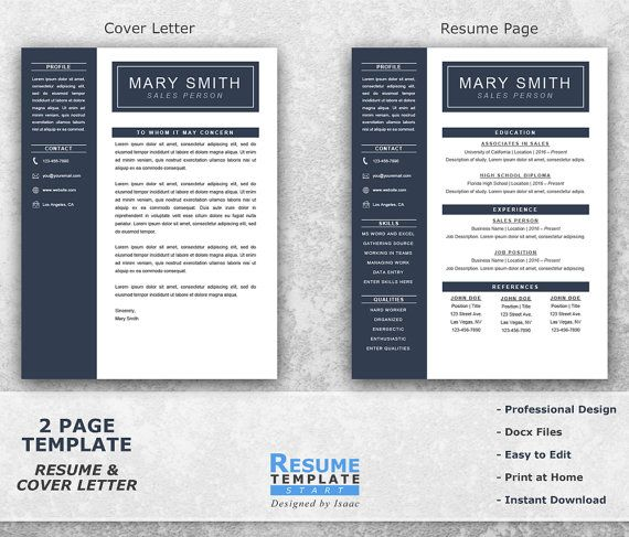 One Page Resume Template Word - Resume Cover Letter Templates - CV ...