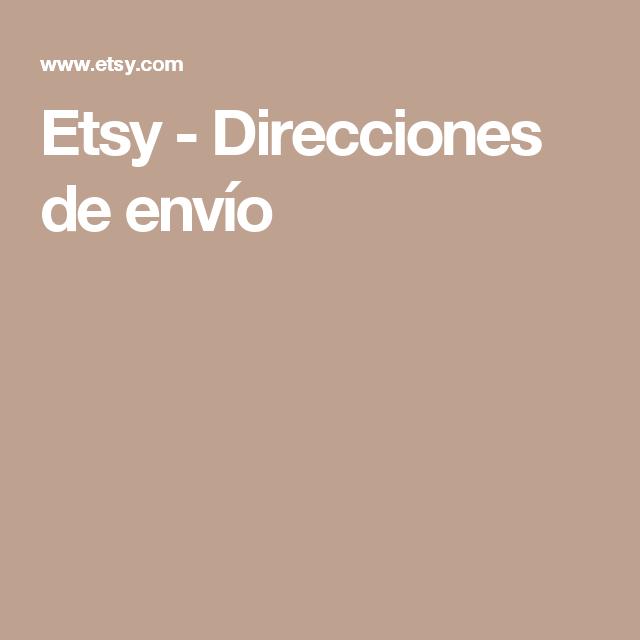 Etsy - Direcciones de envío