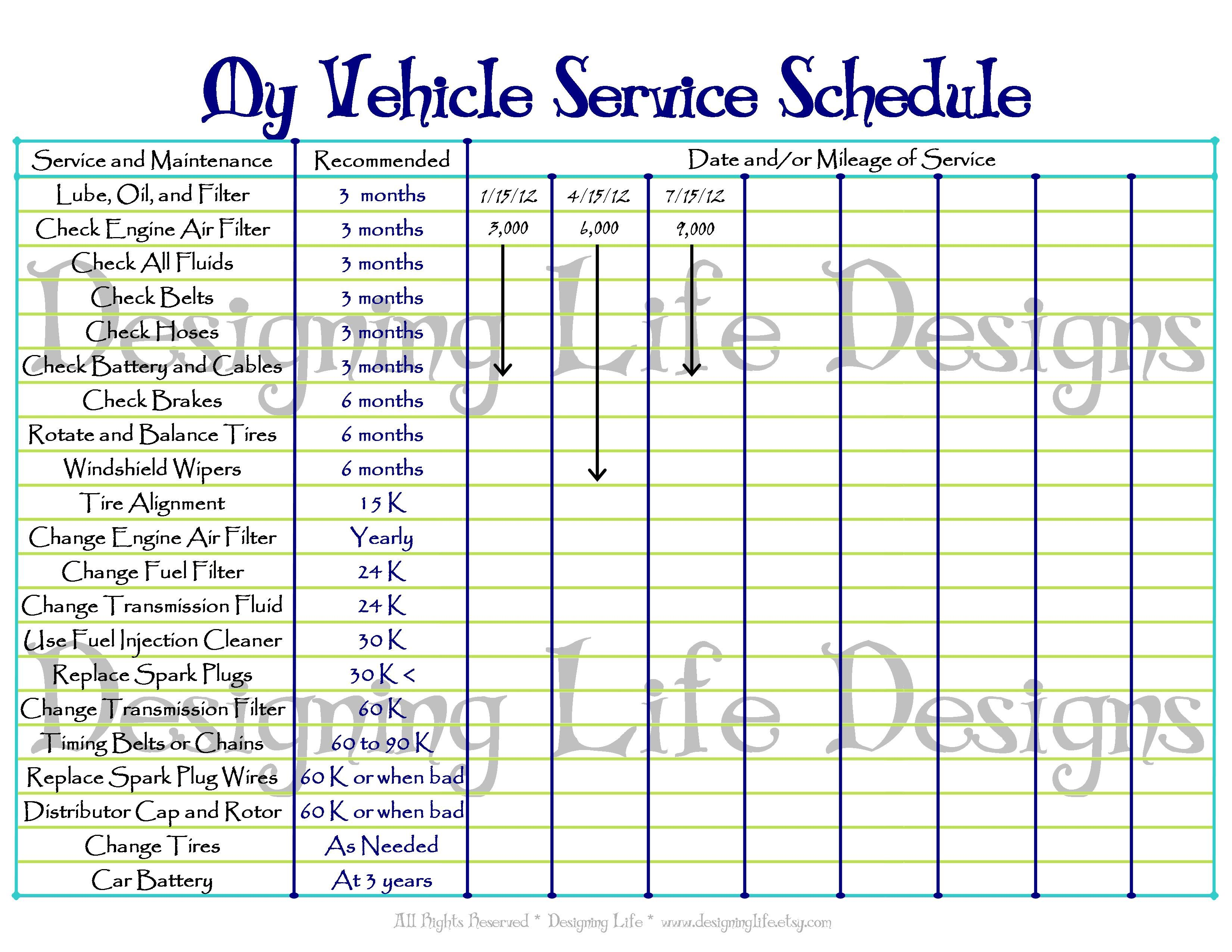 Printable Vehicle Maintenance Log Template