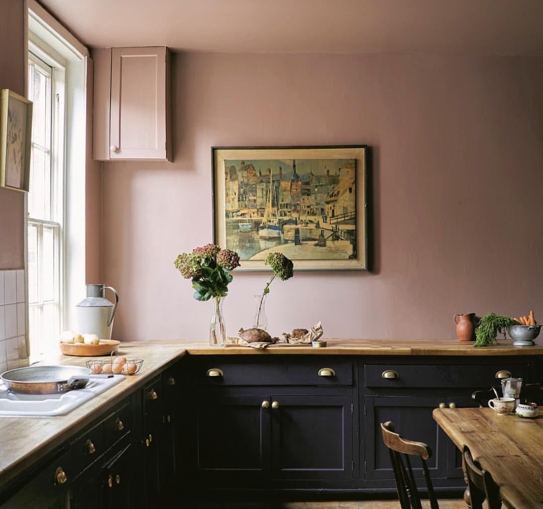 Best Farrow Ball 'Sulking Room Pink' Dark Kitchen Cabinets 400 x 300