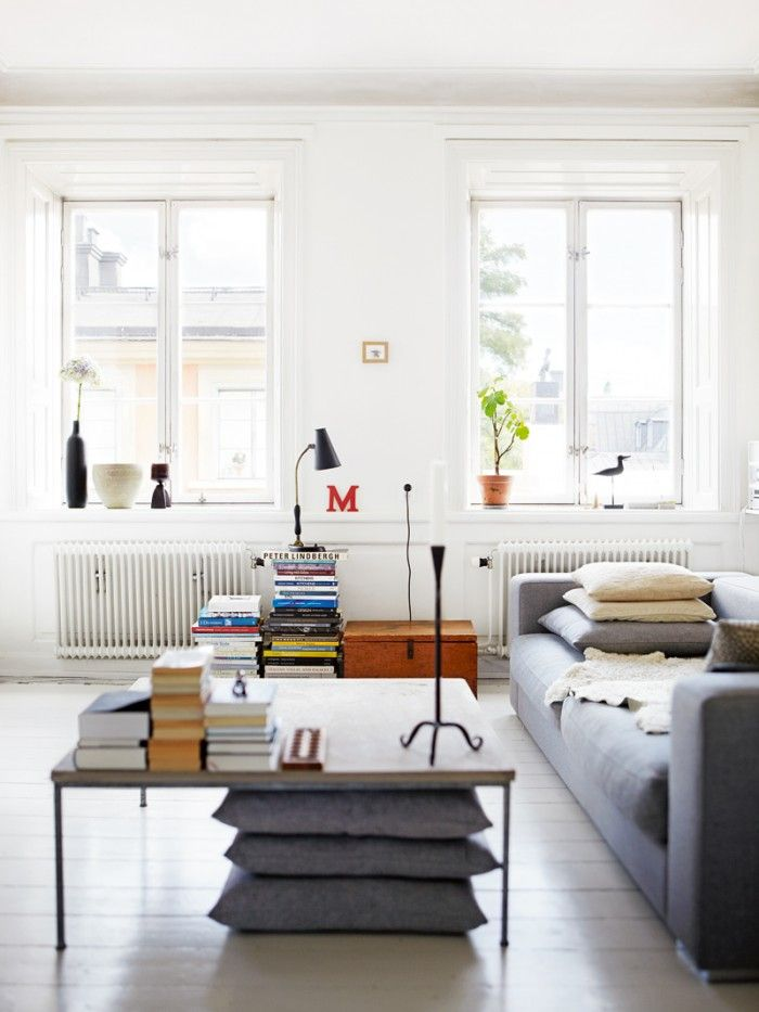 Impressive Scandinavian Style Living Room Designs 2014 Amazing White Themed Design With Fancy Grey Sofa And Square Coffee Table