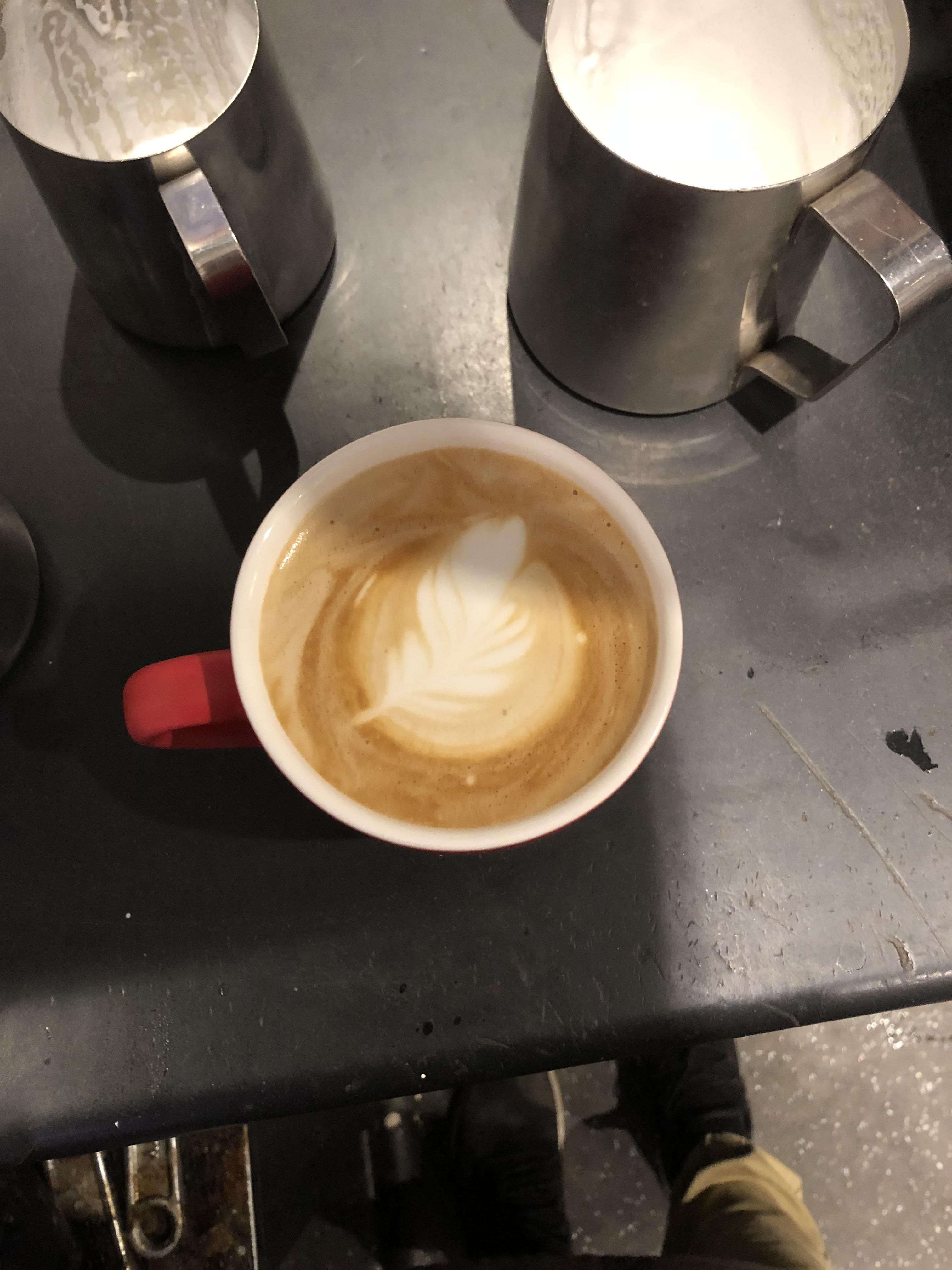 Poured My First Feather Yesterday Coffee Cafe Espresso Photography Coffeeaddict Yummy Barista Coffee Addict Best Coffee Grinder Best Coffee