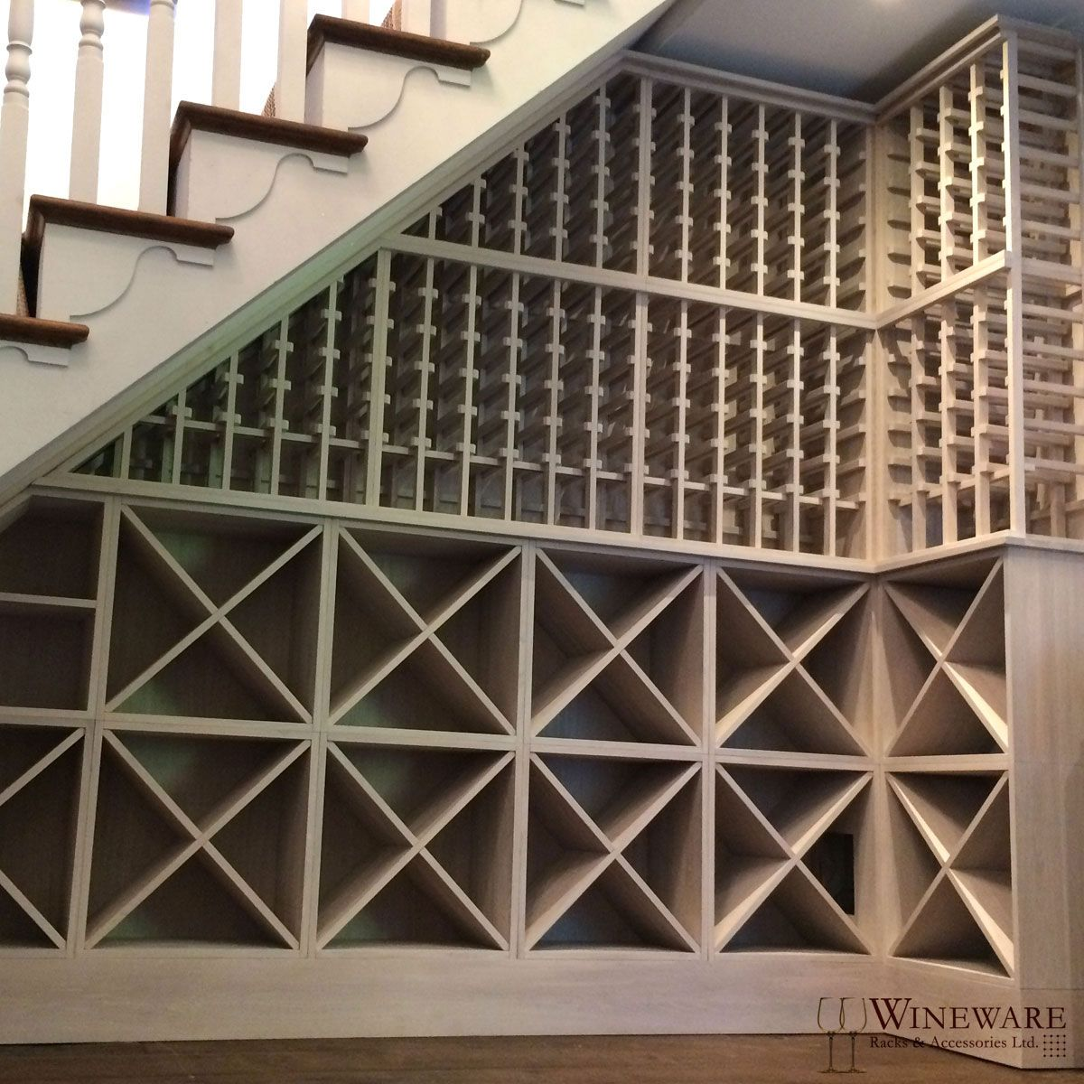 Bespoke Under Stairs Shelving: Bespoke Under Stairs Wine Racking Project Installed In