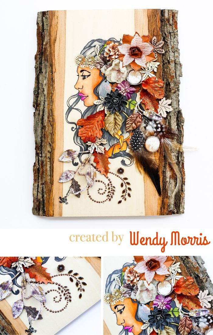 """Isn't this just stunning? Wendy's talent took our """"Free Spirit"""" Bloom Girl stamp and turned it into this fabulous wood decor piece loaded with fall leaves, gorgeous flowers, and sweet crystal swirls! Wood slab available at @HobbyLobby #DIY #woodcrafts #bloomgirls @jamiedougherty"""