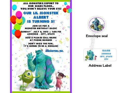 Awesome Monsters Inc Birthday Invitations Ideas