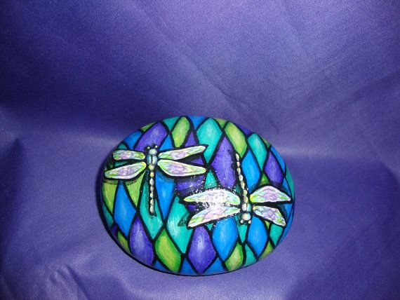 Dragonfly Hand Painted Rock Art by GiftOfStone on Etsy