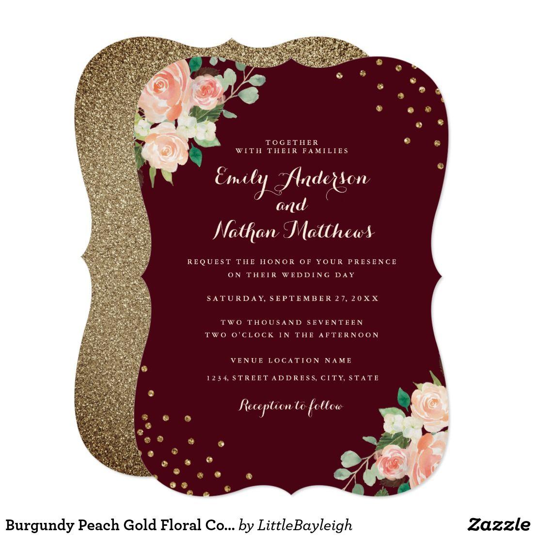 Burgundy Peach Gold Floral Confetti Wedding Invitation | Pinterest ...
