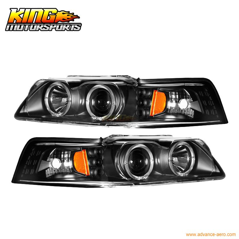 For 1999 2004 Ford Mustang Black Halo Projector Headlights Lamp Usa Domestic Free Shipping Car Lights Binoculars Lighting