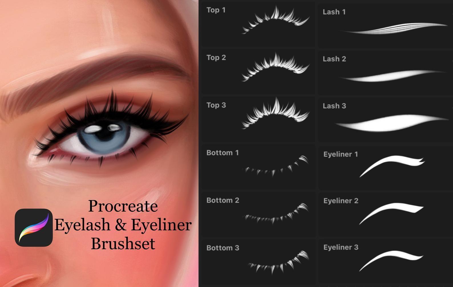 Procreate Eyelash & Eyeliner Stamp Brushes Etsy in 2020