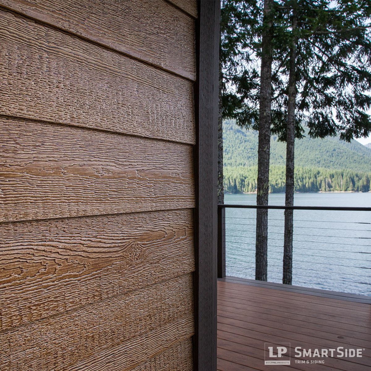 Take a good close look at the rich cedar grain of the lp for Homes with wood siding
