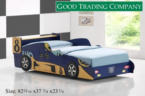 Blue Race Car Bed Real Wood Expensive 542 Twin Bed Twin Car