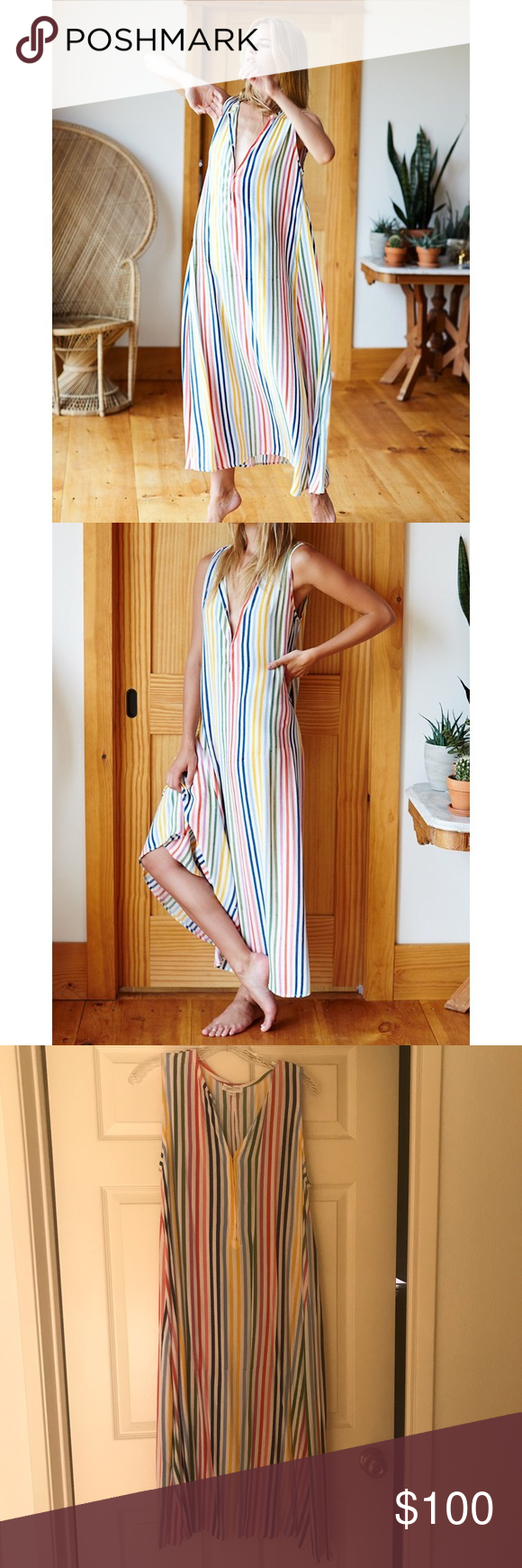 Emerson Fry Rainbow Stripe Caftan In good condition, only worn a few times. Sold out on the website! Emerson Fry Dresses #emersonfry