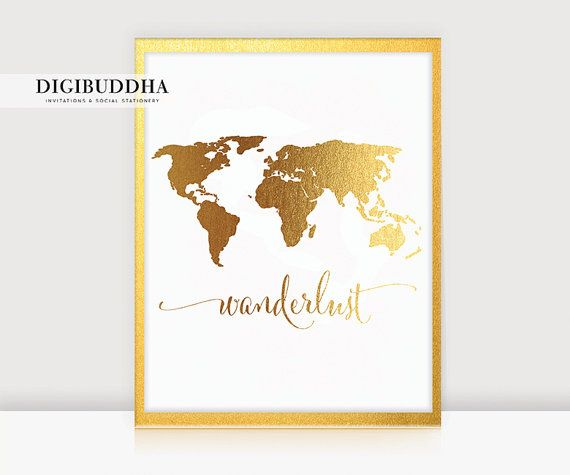 Wanderlust world map gold foil print 8x10 or 5x7 travel world wanderlust world map gold foil print 8x10 or 5x7 travel world traveler art print poster wall gumiabroncs
