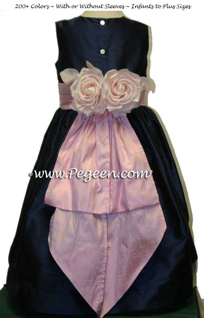 50595af1da1 Navy Blue and Pink Flower Girl Dresses with back flowers Classic Style 383  by Pegeen.