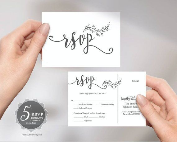 Wedding RSVP Postcard Card, editable PDF template, instant download