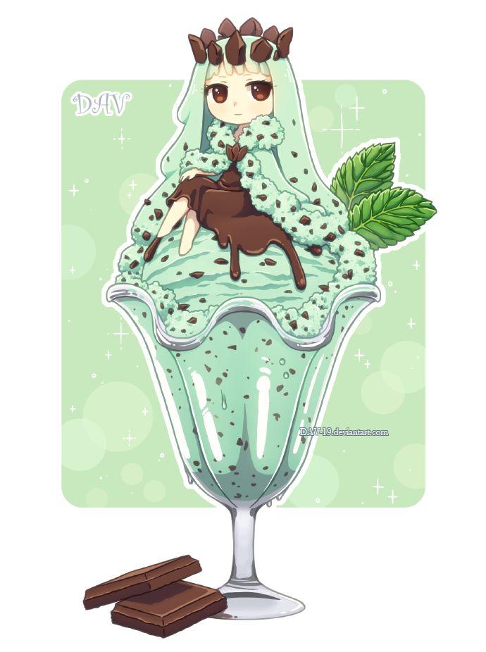 Dav 19 drinks personification bare knees chocolate - Ice cream anime girl ...