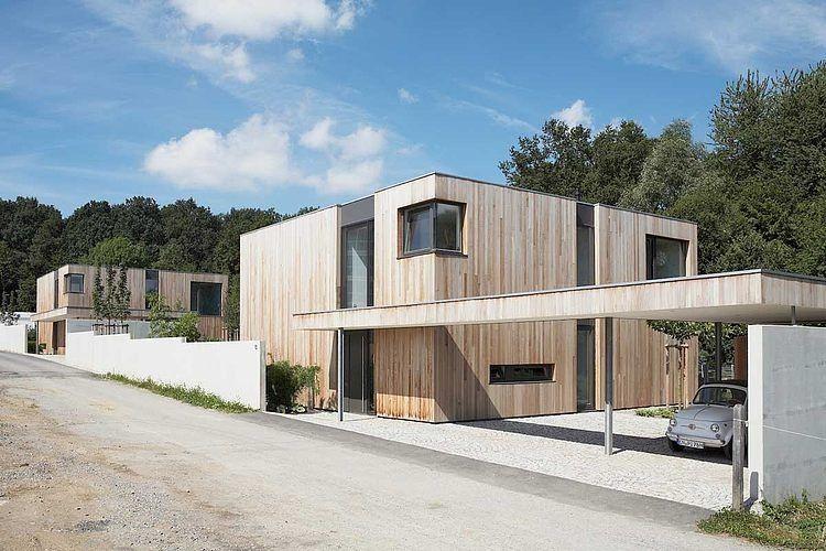 façade entrée - Maison bois béton par Ideaa architectures - Colmar