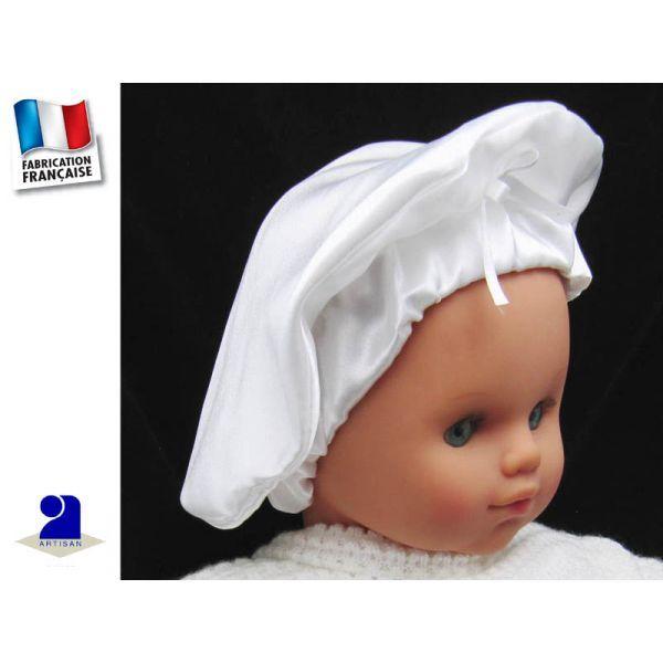 Béret baptême en satin blanc par Poussin Bleu du 3 mois au 4 ans Un béret  enfant en satin pour compléter -la tenue de baptême -la tenue pour un  mariage En ... a0e6c8a6d3e