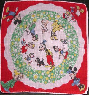 Child/'s Vintage Cotton Handkerchief Hankie Mickey Donald Goofy Disney Christmas 1950/'s Collectable Rare