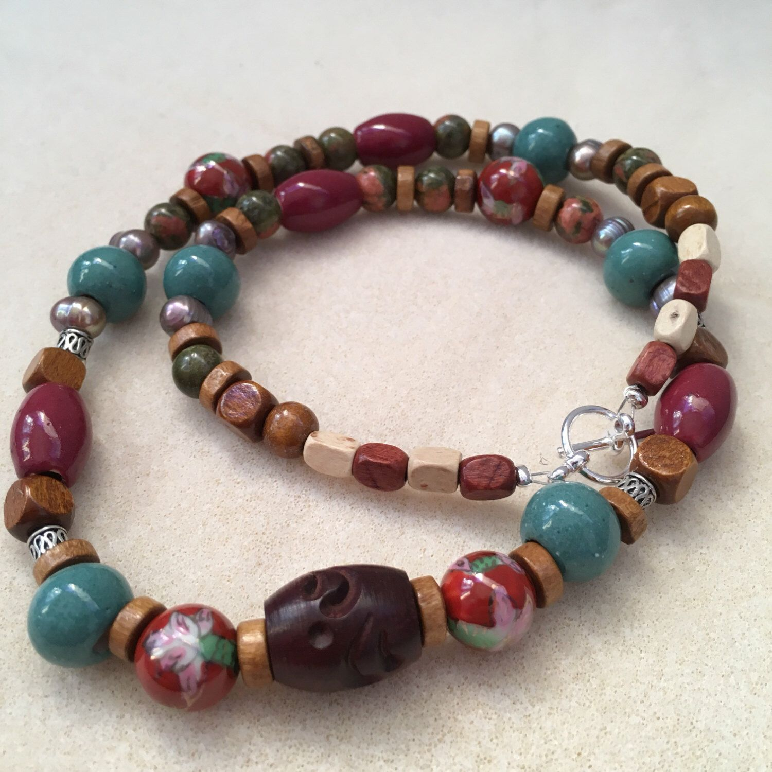 A personal favourite from my Etsy shop https://www.etsy.com/au/listing/489189556/boho-necklace-with-wooden-beads